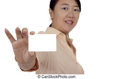 Asian woman with business card