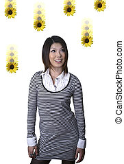 Asian woman with dasies