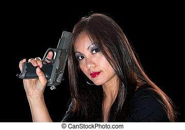 Asian woman with gun