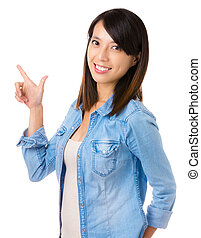 Asian woman with hand gesture