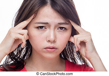 Asian woman with headache - Chinese woman with headache,...