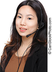 asian woman with headset