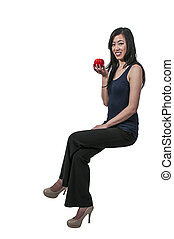 Asian Woman with Red Delicious Apple