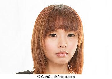 Asian woman with sad face