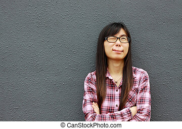 Asian woman with special facial expression