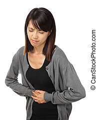 Asian woman with stomachache