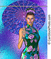 Asian woman with umbrella