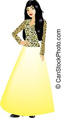 Asian Woman Yellow Gown