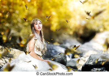 asian women beauti into the forrest.