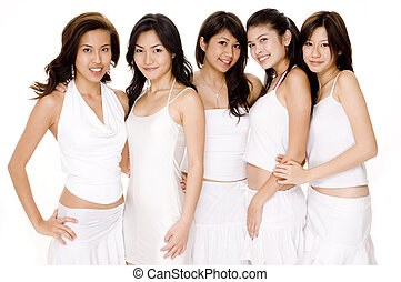 Asian Women In White #1 - Five beautiful asian women in...