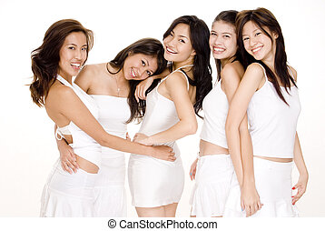 Asian Women In White #5 - Five beautiful asian women in...