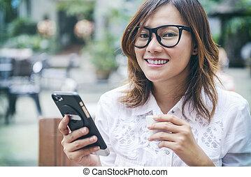 Asian women smiling