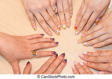 nail arts - Asian women's hand with nail arts.