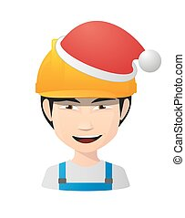 Asian worker avatar wearing a santa hat