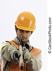asian workman in hardhat worker