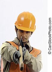 asian workman in hardhat worker
