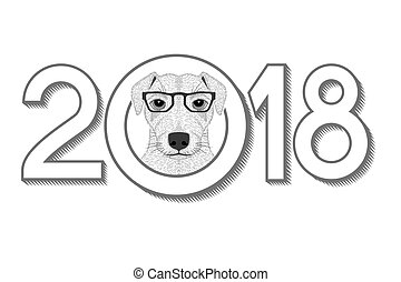 2018 New Year Card with Terrier Hear in Glasses