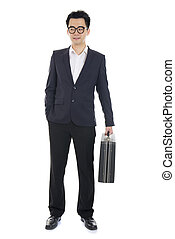 asian young business man with suitcase isolated on white background