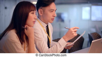 asian young Business people working in office