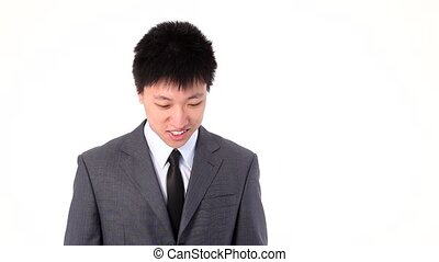 Asian young businessman talking hap