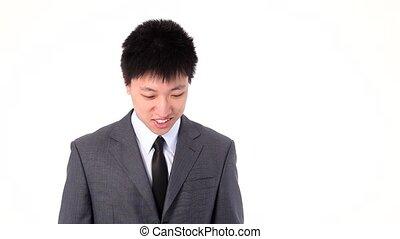 Asian young businessman talking hap