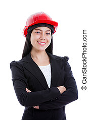 Asian young female wearing red hard hat. Isolated on white.