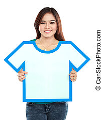 Asian young girl holding t-shirt symbol