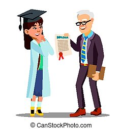 Asian Young Girl Student Doctor Receiving A Diploma Vector. Isolated Cartoon Illustration
