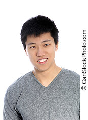 Asian young happy man smiling, portrait