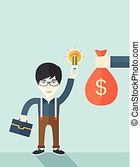 Asian young man with his bag and bulb.