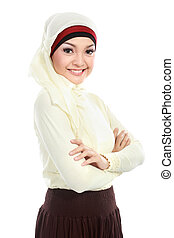 young asian muslim woman in head scarf isolated over white background