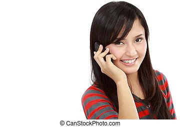 Asian Young smiling woman calling