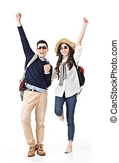 traveling couple feel exciting - Asian young traveling...