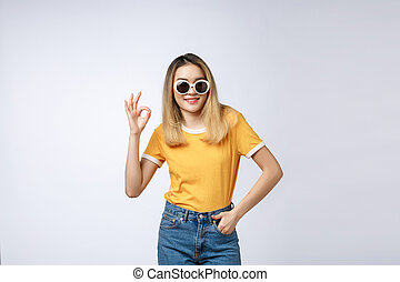 Asian young woman beautiful smile with ok finger sign isolate on white background