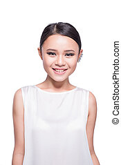 Asian young woman beauty shot isolated on white background.