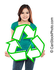 Asian young woman holding recycle sign
