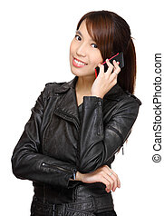asian young woman talking on phone