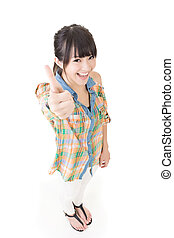 Asian young woman thumbs up