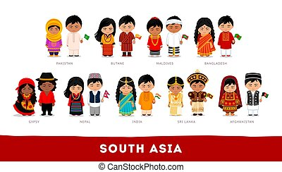 Asians in national clothes. South Asia. Set of cartoon character