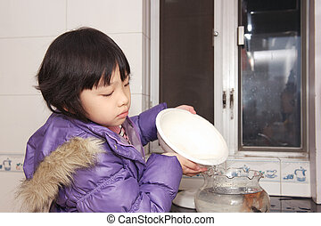 asiat, barnet, forfriskende, vand, by, guldfisk