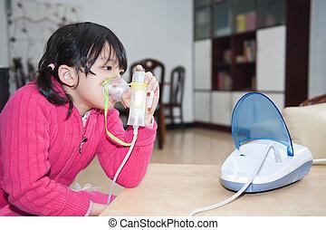 asiat, barnet, indtagelse, åndedræts, terapi