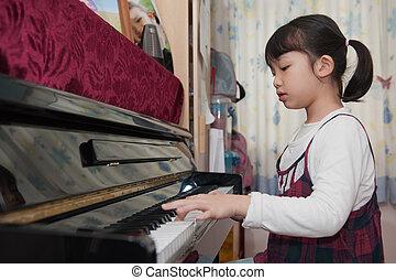 asiat, barnet, spille piano