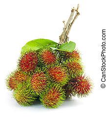 asiat, frukt, rambutan, vita, bakgrund