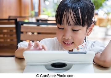asiat, kinesisk, lille pige, spille, tablet, computer