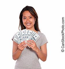 asiat, kvinna, pengar, kontanter, ung, le