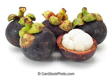 asiat, tropisk, mangosteen, frukt, vita, bakgrund