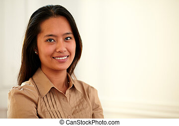 Asiatic 25-29 years woman smiling at you - Portrait of...
