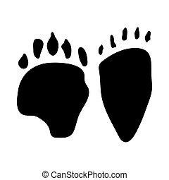 Asiatic Black Bear Footprint. Black Silhouette Design....