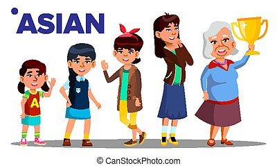 Asiatic Generation Female People Person Vector. Asian...