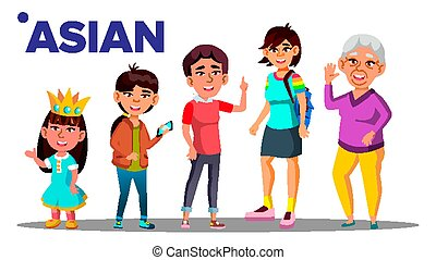 Asiatic Generation Female Set People Person Vector. Asian...